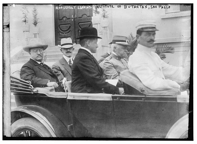 Roosevelt leaving Institute of Butantan, Sao Paolo
