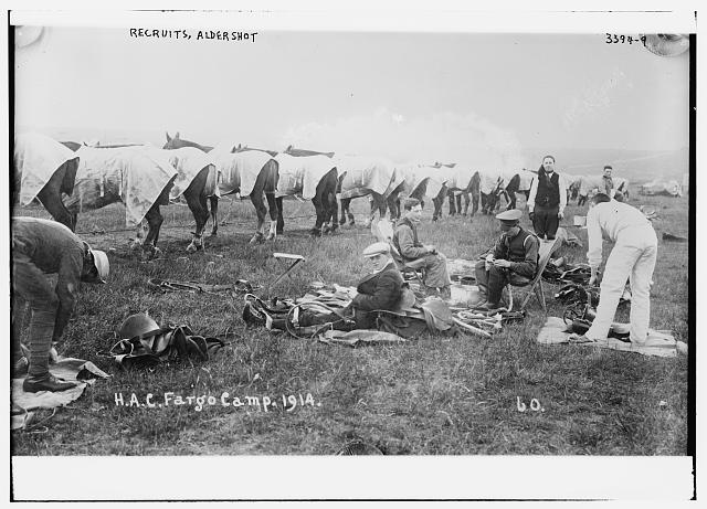 Recruits, Aldershot, H.A.C. Fargo Camp. 1914