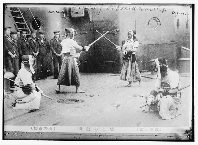 Jap[anese] sailors fencing