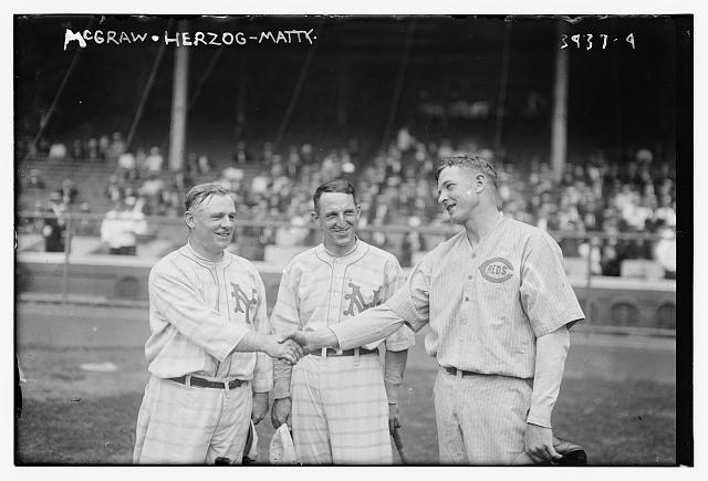 [John McGraw & Buck Herzog, New York NL, and Christy Mathewson, Cincinnati NL (baseball)]