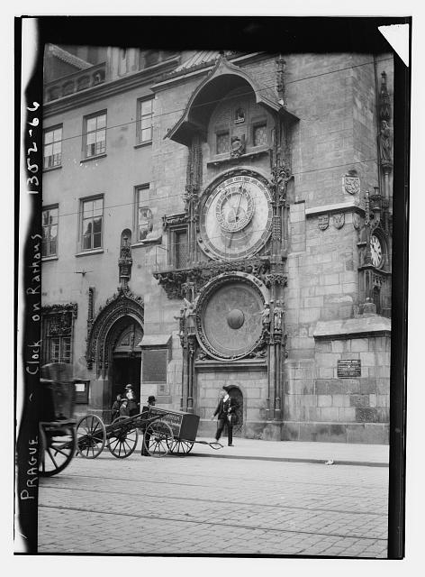 [Façade with clock of City Hall. Prague]