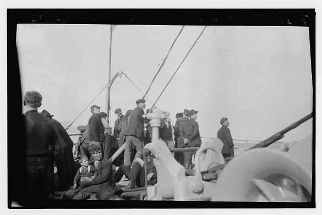 Steerage passengers at bow of FRIEDRICH DER GROSS