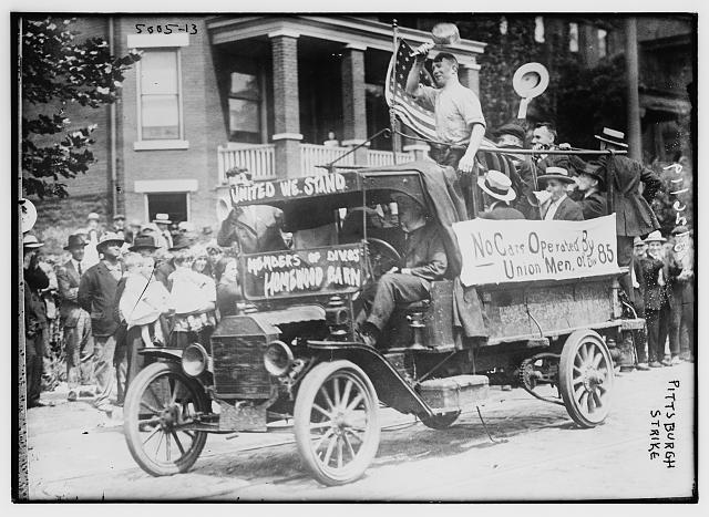 Pittsburgh Strike [1919 strikers demonstrating in car]