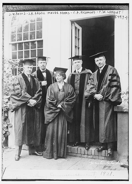 J.W. Davis, J.R. Angell, Maude Adams, C.A. Richmond, T.W. Lamont in graduation gowns
