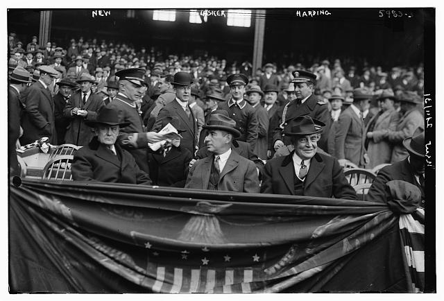 [Harry New (Postmaster General), Albert Lasker & Pres. Warren Harding at Yankee Stadium, 4/24/23 (baseball)]