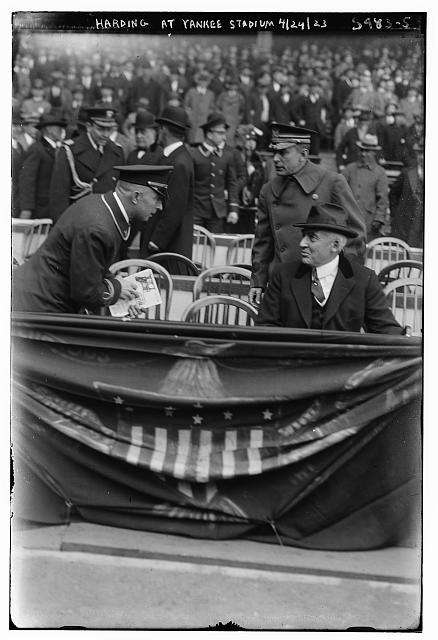 [US President Warren Harding at Yankee Stadium, 4/24/1923 (baseball)]