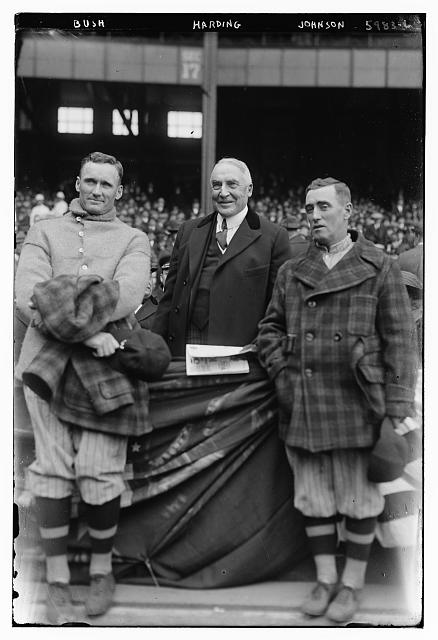 Yanks' Leslie A. (Bullet Joe) Bush - Pres. Harding - Senator's Walter Johnson, 4/24/23