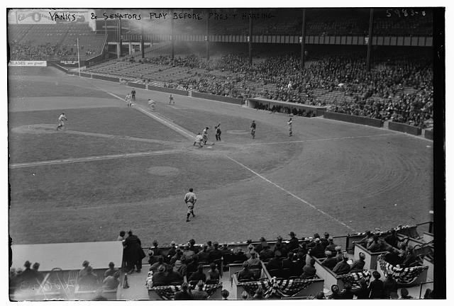 Yanks & Senators play before Pres. Harding, 4/26/23