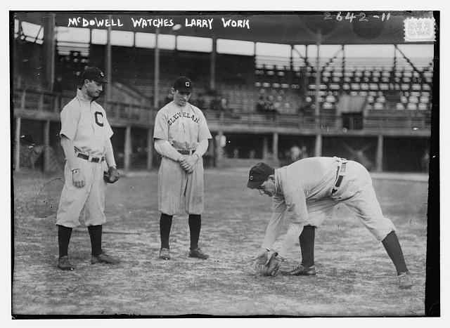[Ward McDowell, outfield prospect, watches Nap Lajoie, Cleveland AL (baseball)]