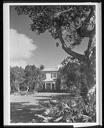 Palm Beach residence. Robert D. Huntington, residence on Travellers Way, vertical vista of house from garden