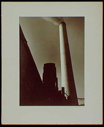 Master prints. Pittsburgh Plate Glass Chlorine Plant, New Martinsville, West Virginia, up shot on chimney