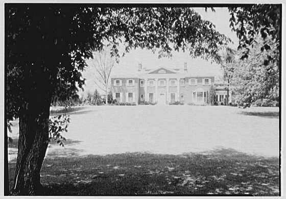 Roy D. Chapin, residence at 447 Lake Shore, Grosse Pointe Farms, Michigan. Entrance facade, center framed, noon