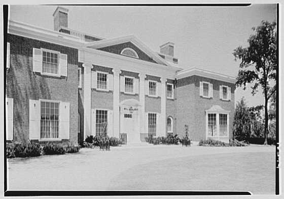 Roy D. Chapin, residence at 447 Lake Shore, Grosse Pointe Farms, Michigan. Entrance facade, sharp view from left, noon