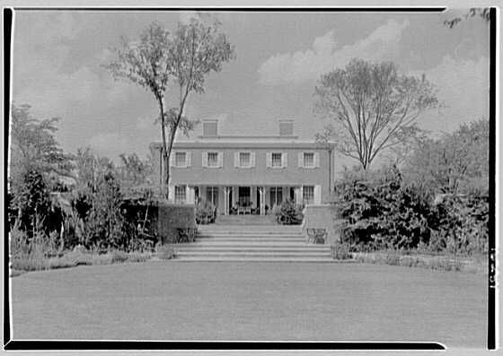 Roy D. Chapin, residence at 447 Lake Shore, Grosse Pointe Farms, Michigan. South facade, direct axis