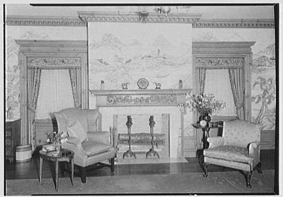 John N. Conyngham, Hayfield Farm, residence in Lehman Township, Pennsylvania. Chinese bedroom fireplace