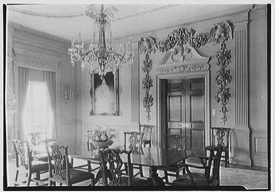 John N. Conyngham, Hayfield Farm, residence in Lehman Township, Pennsylvania. Dining room, to door