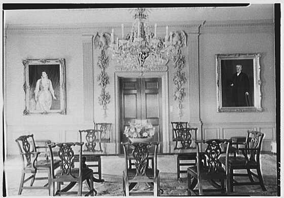 John N. Conyngham, Hayfield Farm, residence in Lehman Township, Pennsylvania. Dining room axis to door