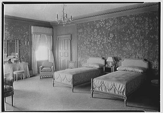 John N. Conyngham, Hayfield Farm, residence in Lehman Township, Pennsylvania. Blue bedroom, to bed, natural light