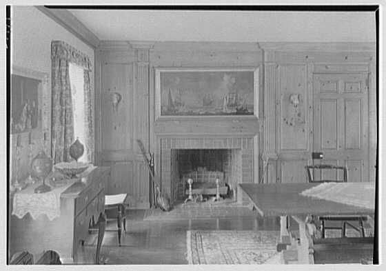 Earl L. Miller, residence on Delafield Island, Darien, Connecticut. Dining room, to fireplace