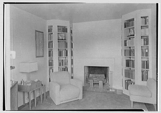 George R. Dyer, residence in Brookville, Long Island. Study, to fireplace