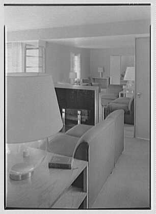 George R. Dyer, residence in Brookville, Long Island. Living room through lamp
