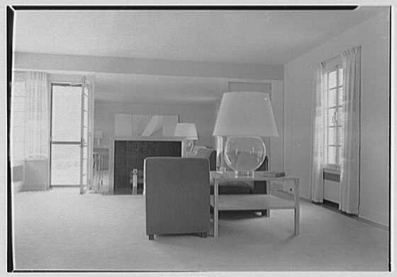 George R. Dyer, residence in Brookville, Long Island. Living room, from floor