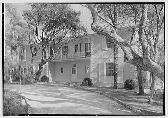 Edward Davis, residence in Sea Island, Georgia. Entrance facade from right