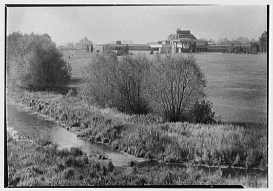 Herbert F. Johnson, Jr., Wingspread, residence in Racine, Wisconsin. Distant view from hill I