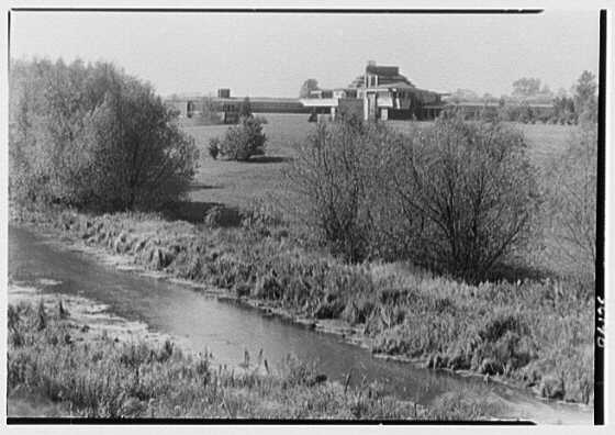 Herbert F. Johnson, Jr., Wingspread, residence in Racine, Wisconsin. Distant view from hill II