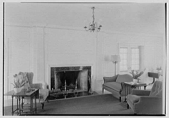 Middlesex County Girls Vocational School, Woodbridge, New Jersey. Household living room, fireplace