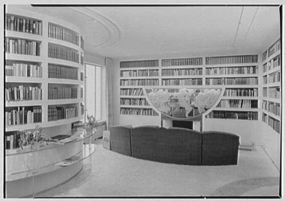 William Burden, Jr., residence at 10 Gracie Sq., New York City. Library, to fireplace I