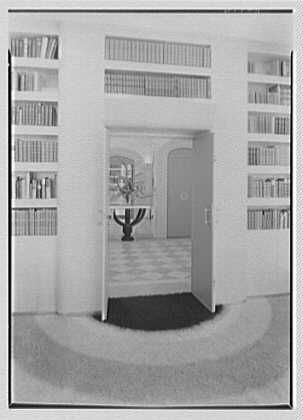 William Burden, Jr., residence at 10 Gracie Sq., New York City. Library, to door