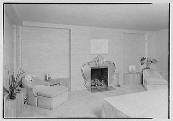 William Burden, Jr., residence at 10 Gracie Sq., New York City. Bedroom, to fireplace
