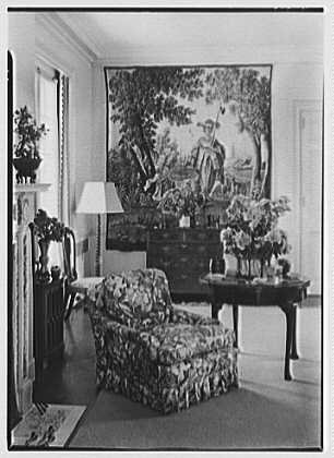 Wadsworth R. Lewis, residence in Ridgefield, Connecticut. Living room corner and tapestry