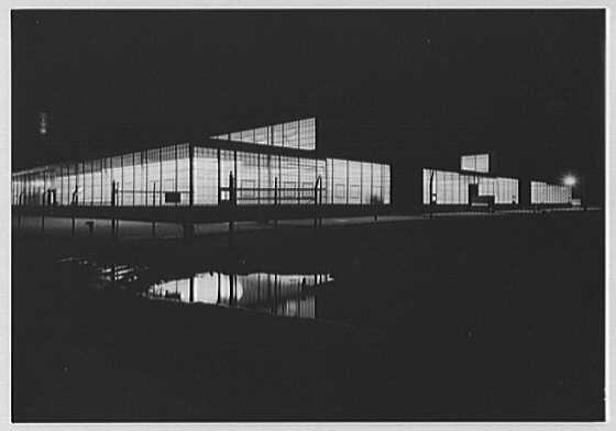 Liberty Aircraft Corp., Farmingdale, Long Island. Exterior, at night