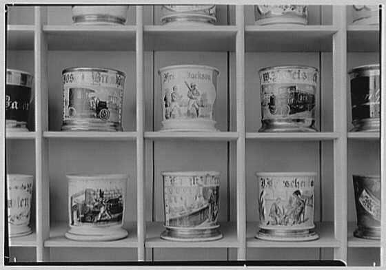 Gourielli Apothecary Shop, 16 E. 55th St., New York City. Blue room, detail of 6 mugs