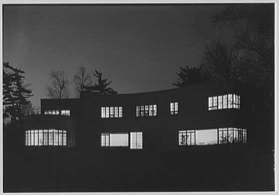 Thomas S. Holden, residence on Tory Hill Rd., Darien, Connecticut. Rear of house, at night
