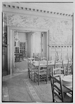 Miss Gill's School, Bernardsville, New Jersey. Dining room, to gallery