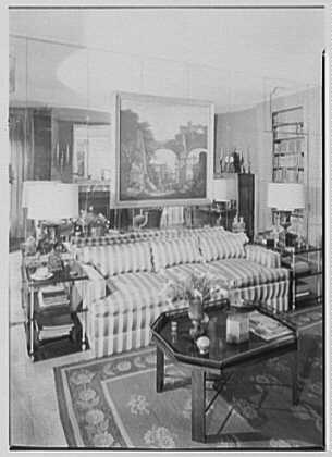 Mrs. Pierre Bedard, residence at 137 E. 38th St., New York City. Living room, to sofa