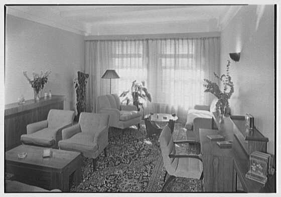 Kurt Olden, residence at 215 W. 90th St., New York City. Living room, to window