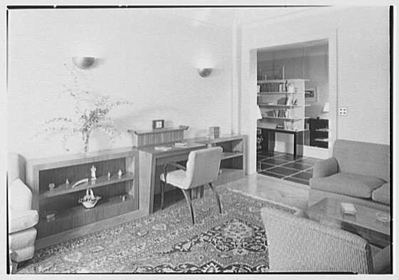 Kurt Olden, residence at 215 W. 90th St., New York City. Living room, to foyer