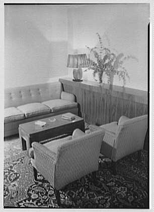 Kurt Olden, residence at 215 W. 90th St., New York City. Living room, to corner