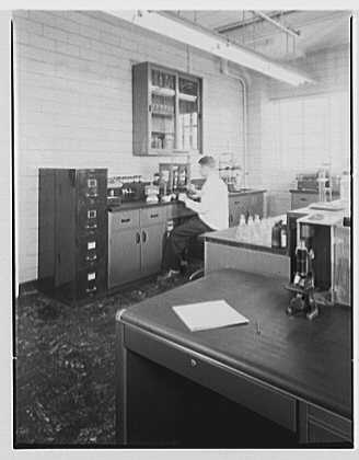 Abbott Laboratories, 1350 Cote de Liesse, Montreal, Canada. Laboratory worker in control laboratory