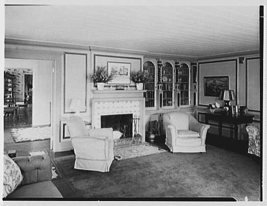 Dr. Miller, residence in Niantic, Connecticut. Living room, to fireplace