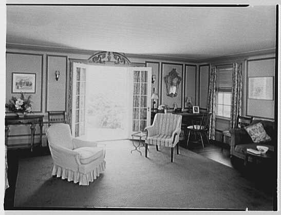 Dr. Miller, residence in Niantic, Connecticut. Living room, to door