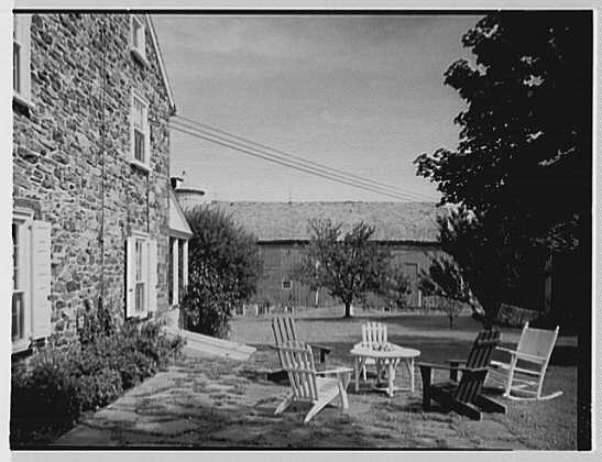 Mr. and Mrs. Eldredge Snyder, Carding Mill Farm, residence in Kellers Church, Pennsylvania. Terrace, to barn
