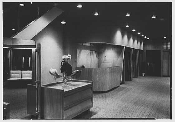 Messinger's, business in New Rochelle, New York. View to cash desk and fitting rooms