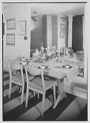Elizabeth Draper, business at 785 Madison Ave., New York City. Norwegian furniture, dining room table I