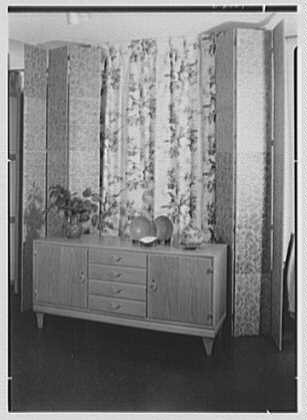 Elizabeth Draper, business at 785 Madison Ave., New York City. Norwegian furniture, sideboard
