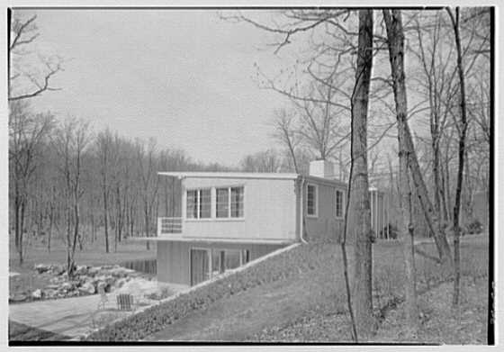 Norman Kent, residence on Eastern Rd., Weston, Connecticut. View from hill